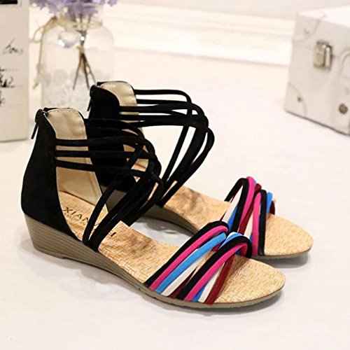 Omiky® Frauen Sommer Böhmen Hausschuhe Flip Flops flache Sandalen Strand String Schuhe Schwarz