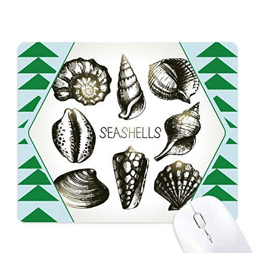Marine Life Black Scallop Illustration Mouse Pad Green Pine Tree Rubber Mat