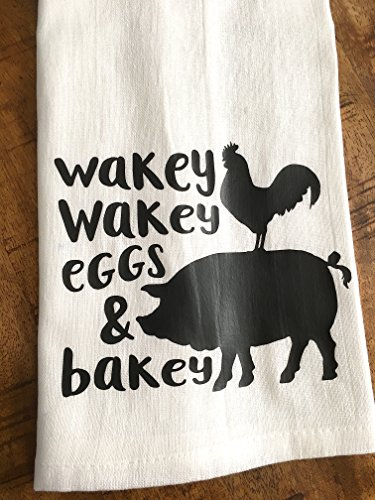 Funny Kitchen Towel - Eggs and Bacon Tea Towel - Farmhouse