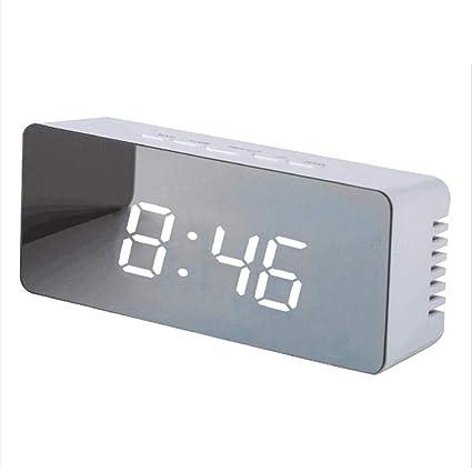 Espejo Reloj Despertador Digital, Carga de Puerto USB para Casa/Oficina,Alarma Reloj