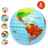 ArtCreativity Inflatable World Globe Ball Set (Set of 6) by, Print Blue and Clear | Colorful Earth Map, 12''-16'' Inflattable Beachball for Pool, Summer Fun Toys for Kids, Learning & More