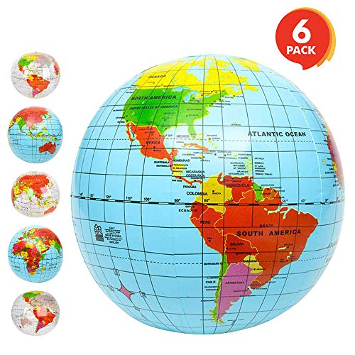 ArtCreativity Inflatable World Globe Ball Set (Set of 6) by, Print Blue and Clear | Colorful Earth Map, 12''-16'' Inflattable Beachball for Pool, Summer Fun Toys for Kids, Learning & More by ArtCreativity