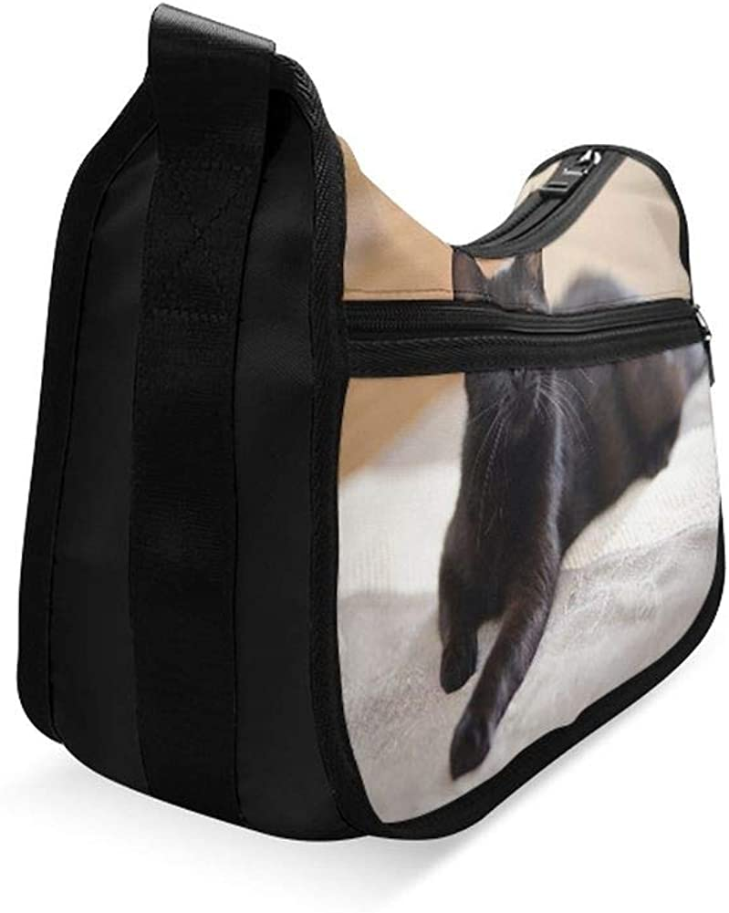 The Black Cat With Yellow Eyes Messenger Bag Crossbody Bag Large Durable Shoulder School Or Business Bag Oxford Fabric For Mens Womens