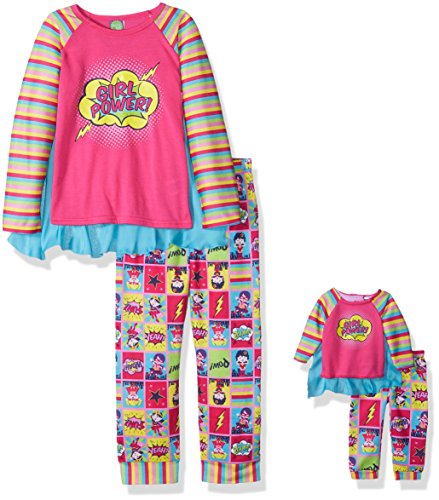 Super Girl Outfit (Dollie & Me Little Girls' Superhero Set with Detachable Cape, Pink/Multi, 6)