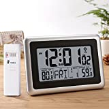 weather clocks atomic - Glisteny Digital Atomic Wall Clock, Indoor Outdoor Thermometer with Wireless Sensor Temperature Monitor for 300foot/100meter Range, Large LCD Display, Calendar, Table Standing, Snooze