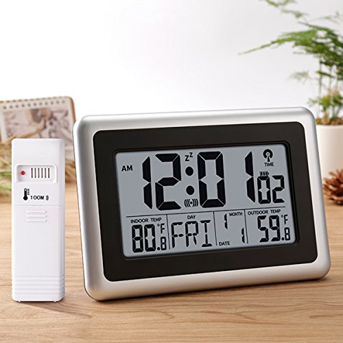 Glisteny Digital Atomic Wall Clock, Indoor Outdoor Thermometer with Wireless Sensor Temperature Monitor for 300foot/100meter Range, Large LCD Display, Calendar, Table Standing, - 15 Function Range 32