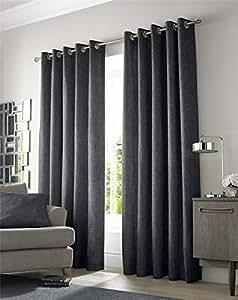 "Con Textura Tejido Gris Carbón Forrado 66""X 72"" - 168cm X 183cm con Ollados Curtains"