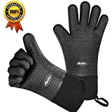 Auzilar Silicone Oven Mitts Extra-long Heat Resistant Mitts Kitchen Gloves with Internal Cotton Lining for Cooking Pot Holder Grilling BBQ Baking Oven Fireplace Camping Kitchen and so on (Black)
