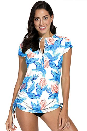 BesserBay Rash Guard Womens Zipper Swim Shirt Tops Blouson Rashguard for Womens Surfing Suit Floral White S