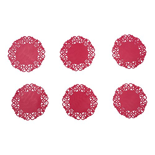 Notrefly Silicone Coasters,Set Of 6 Red Non-slip And Heat Insulate Coasters For Drinks,Beverage,Wine,Beer,Coffee,Tea,Cup And Mug Pad, Mat