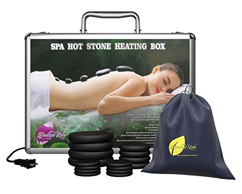 Professional Portable Massage Stone Heater Kit with 16 Therapy Hot Rocks Massage Stones - Bonus Guide E-Book included - by Amethyst Lake by Amethyst Lake