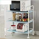 Hyun times Microwave Shelving Living Room Storage Rack Storage Rack With Wheels Three-story Metal Dining Car