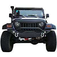 1987-2006 TJ Front Bumper Different Trail Rock Crawler w/ Winch Plate & 2x 18W LED Accent Lights for Jeep Wrangler & Unlimited