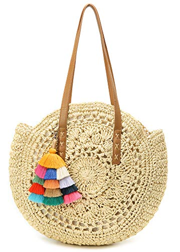Molodo Round Summer Straw Large Woven Bag Purse For Women Vocation Tote Handbags With Pom Poms ()