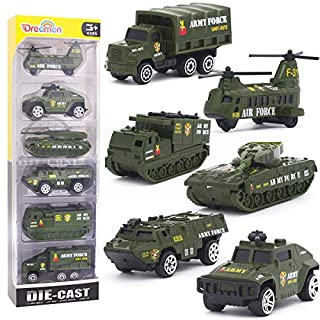 Diecast Military Vehicles Army Toy Mini Pocket Size Play Models Truck Tanks Helicopter for Kids Boys Age 3 4 5,Pack of 6