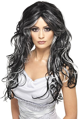 Smiffy's Women's Long and Curly Wig with Silver and Black Streaks, One Size, Gothic Bride Wig, 5020570358283