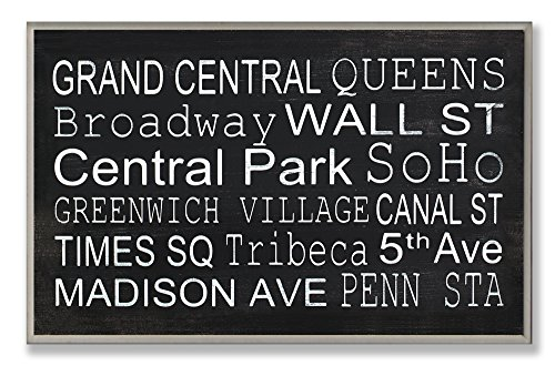 Stupell Home Décor NY Subway Stops Rectangle Wall Plaque, 10 x 0.5 x 15, Proudly Made in ()