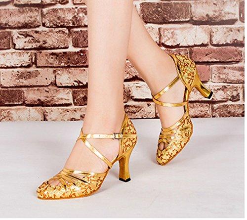 PU Shoes Gold Latin Heel Ballroom Salsa QJ6133 T Tango Closed Toe 6cm Leather Glitter Minitoo Strap Heel High Dance Floral Womens apYqqw