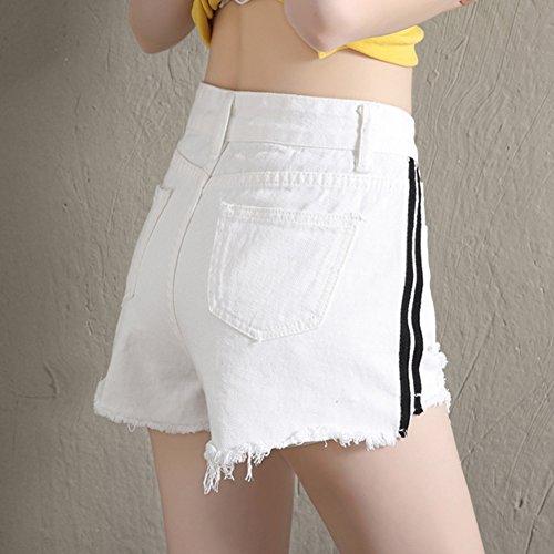 Pantaloncini Hot Fori Denim Yonglan Pants Laterali Strisce Shorts Alta Donne Bianco Buco Vita Jeans 0xqUw1xvH