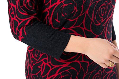 Chicwe Vestidos Tallas grandes Mujeres Estampado Toque de cachemira EU44-58 Rojo