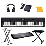 : Casio PX350 Digital Piano with Free Portable Stand, Stretchy keyboard cover, Keyboard Bench, Headphones, Sustain Pedal, Polishing Cloth, & Hal Leonard Fast Track Keyboard Lesson Book