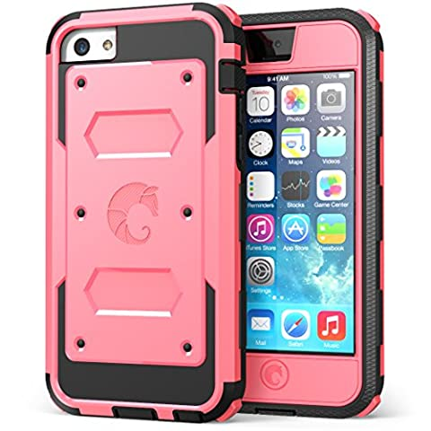 iPhone 5C Case, i-Blason Armorbox for Apple iPhone 5C Dual Layer Hybrid Full-body Protective Case with Front Cover and Built-in Screen Protector and Impact Resistant Bumpers for iPhone 5C (Apple (Pink Iphone 5c Phone Case)