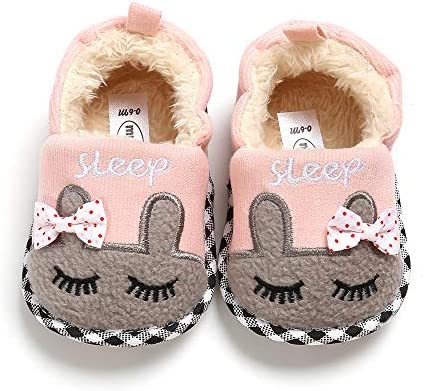Isbasic Unisex Baby Cozy Fleece Cotton Slippers Lovely Cartoon Animal Shoes for Toddler Boy Girl Soft Sole First Walkers Booties