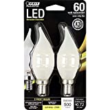 Feit Electric BPCFF60/827/LED/2 Decorative Frost Glass Filament LED Dimmable 60W Equivalent Flame Tip Chandelier Bulb (Pack of 2), Soft White