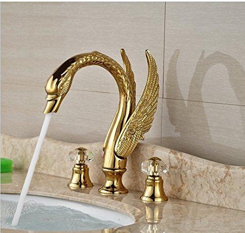 GOWE Contemporary Widespread Golden Basin Sink Faucet Swan Shape Bathroom Sink Mixer Tap Dual Handles 0