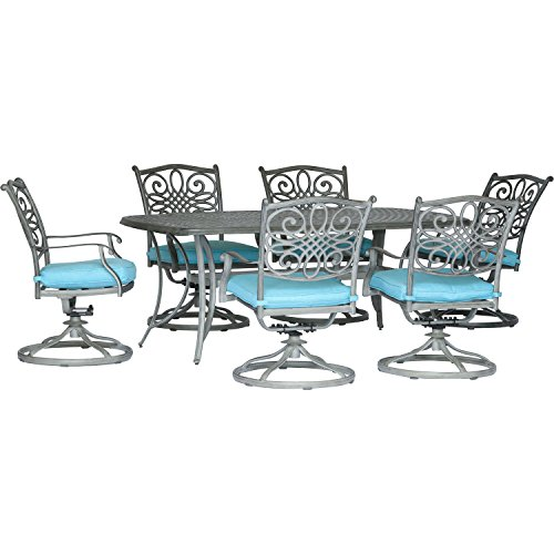 "Hanover TRADDNG7PCSW6-BLU Traditions 7-Piece Set in Blue with 6 Swivel Rockers and a 38"" x 72"" Dining Table in a Gray Finish Outdoor Furniture, 38 x 72,"