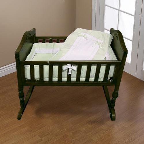 Baby Doll Bedding Royal Pique Cradle Bedding Set, Sage