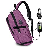 baby lock usb - AmazingBag Business Water Resistant Polyester Laptop Backpack with USB Charging Port and Lock Fits Under 17-Inch Laptop and Notebook (Purple)