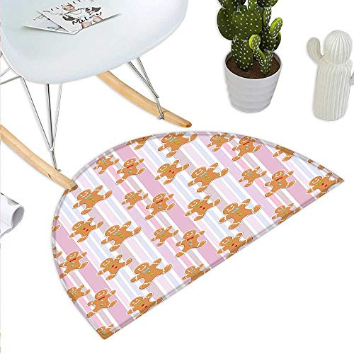 Anniutwo Gingerbread Man Half Round Door mat Kids Pattern with Pastel Colored Striped Backdrop Cute Bakery Xmas Goodies Half Round Front Door mat Multicolor -