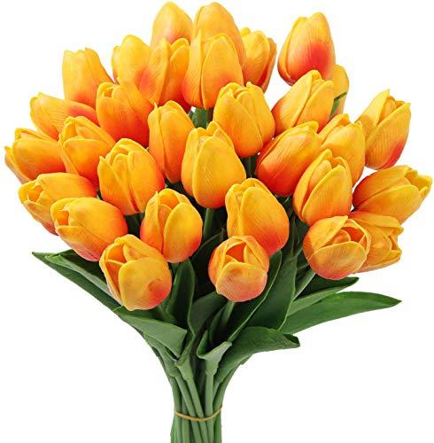 Tifuly 24 Piezas de Tulipanes Artificiales de latex, Ramos de Flores Falsos de Tulipanes realistas para el hogar, Bodas, Fiestas, decoracion de oficinas, arreglos Florales (Rojo Puesta De Sol)