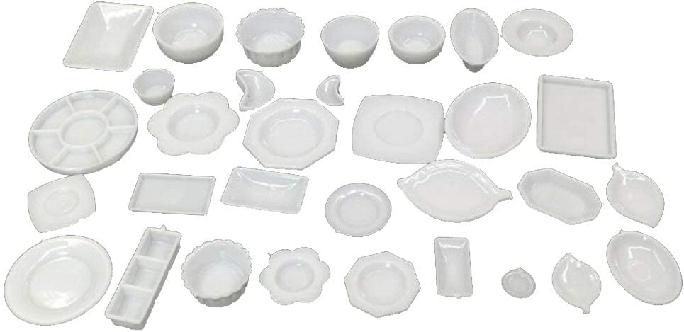 SaiDian 33Pcs/Set Dollhouse Furniture Set Simulation Miniature Dishes Plate Cup Model White Kitchen Living Room Food Decoration Accessories DIY