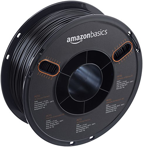 AmazonBasics PETG 3D Printer Filament, 1.75mm, Black, 1 kg Spool by AmazonBasics