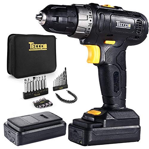 Cordless Drill, TECCPO 12V Drill Driver, 2 Batteries 2.0Ah, 27Nm Max Torque, 27Pcs Accessories, 20+1 Torque Setting with 10mm Chuck, 1 Hr Fast Charger, LED Work Light and 2-Speed Switch - TDCD02P