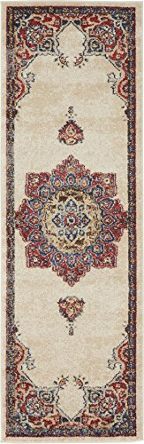 Traditional Persian Rugs Vintage Design Inspired Overdyed Fancy Cream 2' x 6' FT (61cm x 185cm) Runner St. James Area Rug