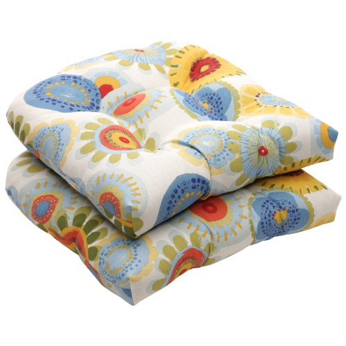 Pillow Perfect Outdoor Floral Wicker Seat Cushions - 19 x 19