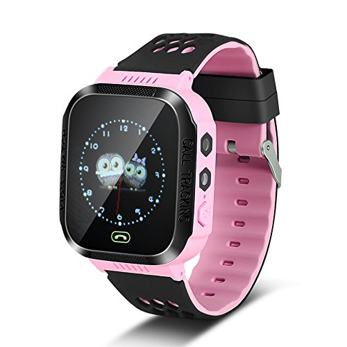 fosa Kids Smart Watch for Boys Girls, SOS Camera Flashlight Anti-lost GPS Tracker Intelligent Watch Wristband Compatible with Android iOS (Pink)