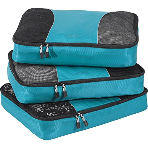 eBags Large Packing Cubes for Travel - 3pc Set - (Aquamarine)