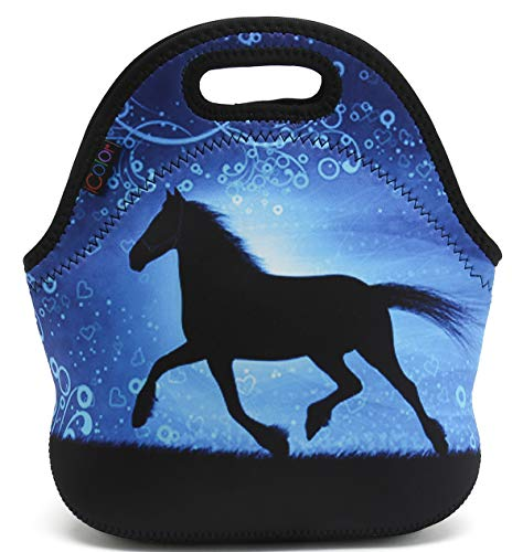 iColor Neoprene Lunch Bag, Kids Thermal Lunch Tote Bag, Lunch Box Food Container, Insulated Soft Lunchbox, Food Storage Cooler - Great for Boys, Girls (Running Horse) HST-LB-123