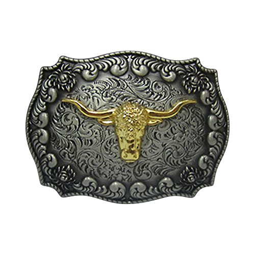 [Long Horn Bull Western Belt Buckle] (Big Cowboy Belt)