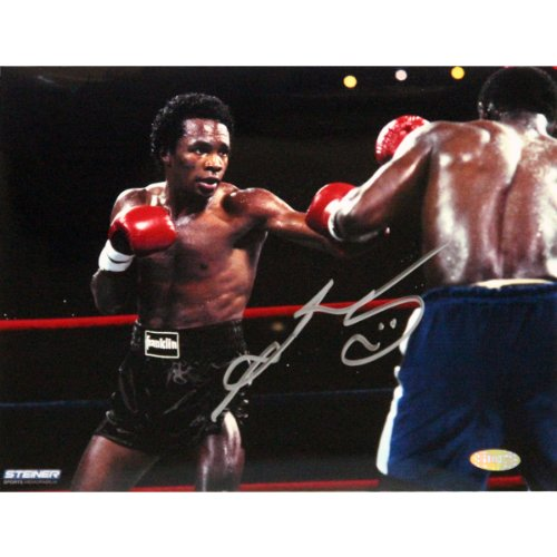 Boxing Sugar Ray Leonard Fight in Black Shorts vs. Kevin Howard Signed 8x10 Photo