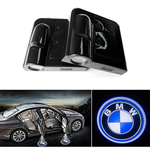 Soondar® 2-Pack New Design Wireless BMW LOGO Door Light Car Vehicle LED Courtesy Welcome Logo Light Shadow Ghost LED Light Lamp Projector Light – No Drilling Required