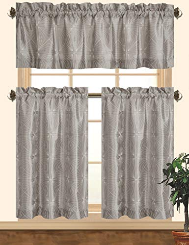 Kashi Home Dana Kitchen Curtain Set, Decorative Faux Silk 3pc Rod Pocket Valance & Panels with Geometric Embroidery Design in White/Silver, Gray ()