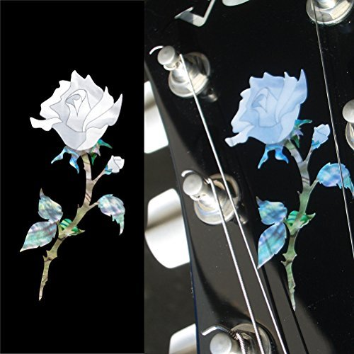Headstock Decal (Inlay Sticker Decal Guitar Headstock In Abalone Theme - Single Rose)