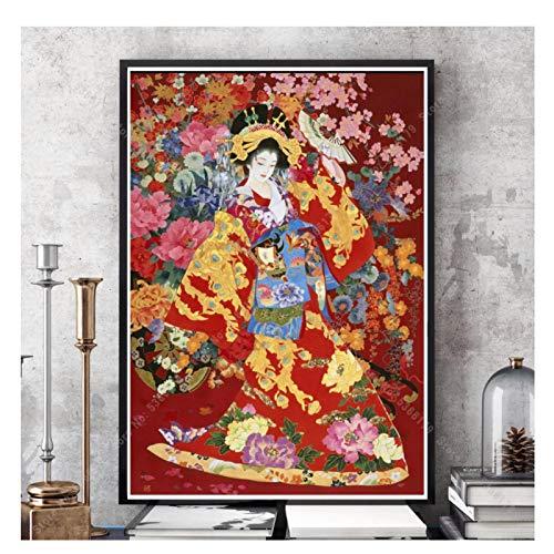 CTONG Impresion De Poster De Arte De Geishas Japonesas, Pintura Al Oleo De Estilo Japones, Cuadro De Lienzo Artistico para Pared, Decoracion para Sala De Estar, 20X28 Pulgadas, Sin Marco