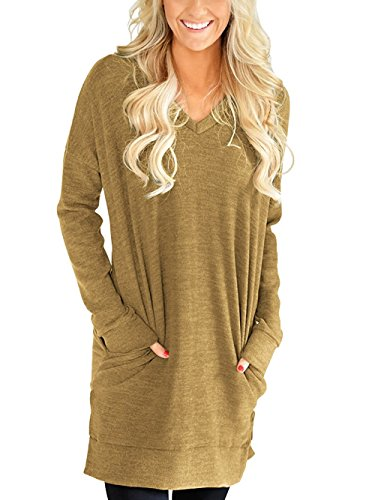LERUCCI Womens Casual Long Sleeves Solid V-Neck Tunics Tops with Pockets Khaki XX-Large -