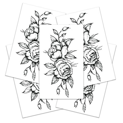 Black Rose Temporary Tattoo - Realistic Body Art Tattoos - Party Accessory & Gift - Set of 5 Temporary Tattoos, 3